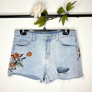 Dex Clothing High-Rise Floral Embroidered Shorts